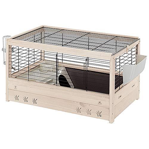 Ferplast Gabbia per Conigli in Legno FSC ARENA 80, Porcellini d'india, Accessori Inclusi