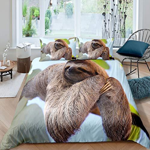 Faultier Bettwäsche Set 155x220cm für Mädchen Jungen Kinder Nettes Tiermuster Bettbezug Set Langsames Faultier Bedruckte Betten Set Dekorative Wildlife Style Bettwäsche Kollektion 2 STK