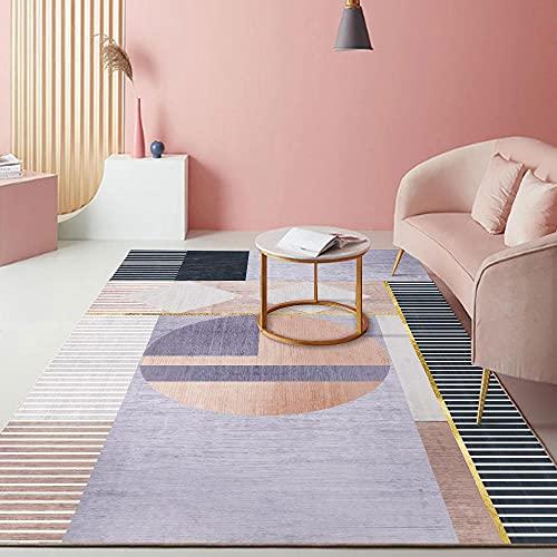 AU-SHTANG Antideslizante alfombras Alfombra púrpura, té geométrico a Rayas té Varias alfombras de Yoga Alfombra de Moda Resistente al Desgaste Alfombra Salon Pelo Corto -púrpura_40x60cm