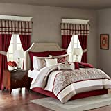 Madison Park Essentials Jelena Room in A Bag Faux Silk Comforter Classic Luxe All Season Down Alternative Bed Set with Bedskirt, Matching Curtains, Decorative Pillows, King, Red