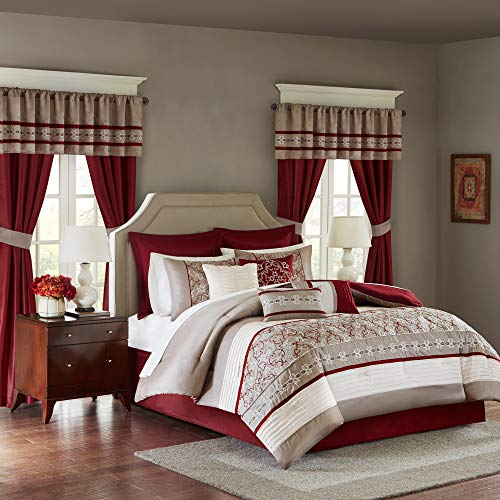 Madison Park Essentials Jelena Room in A Bag Faux Silk Comforter Classic Luxe All Season Down Alternative Bedding, Matching Bedskirt, Curtains, Decorative Pillows, Queen(90'x90'), Red, 24 Piece