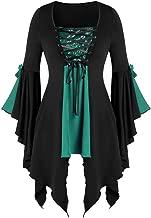 TOTOD Halloween Costume, Women Gothic Criss Cross Sequined Insert Trumpet Sleeve Irregular Hem Witch T-Shirt Tops