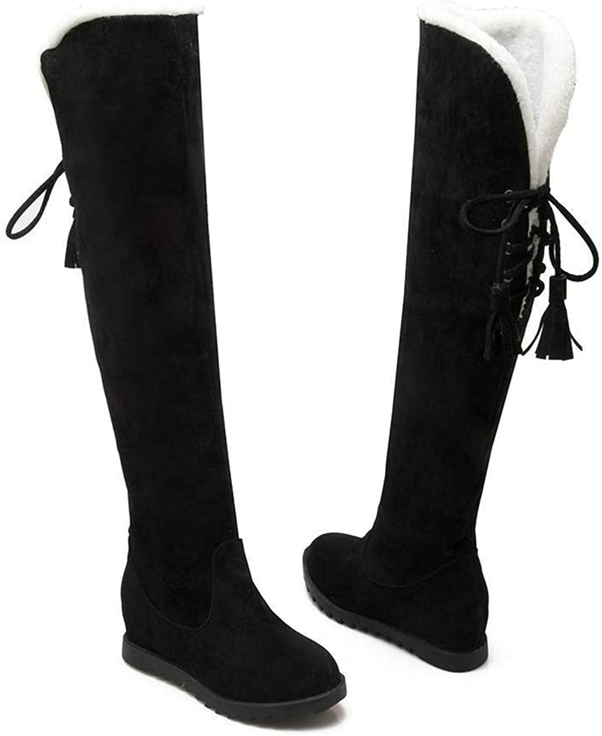 Hoxekle Women Over The Knee Boots Wedge Low Heel Lace Up Tassel Round Toe Antislip Sole Female Warm Long Snow Boots