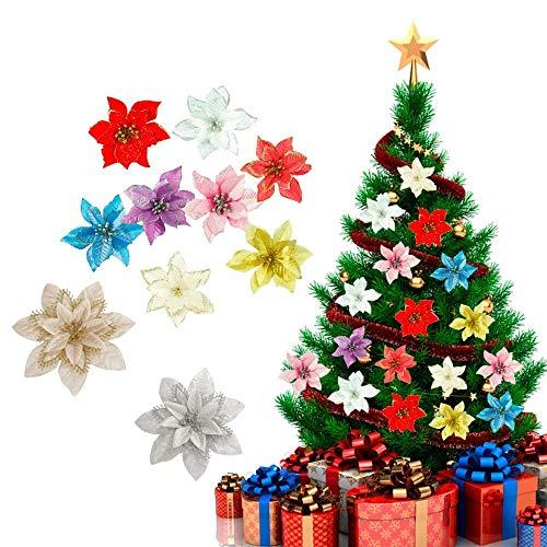 zhuangyulin6 Ciondolo Albero di Natale Fiori Colorati 10 Pezzi, Decorazione Albero di Natale Fiore Stella di Natale Glitter, Ornamenti Regalo di Natale per Albero di Natale, Rosso