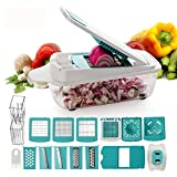 Multi Vegetable Chopper-TTLIFE, Good Grips Pro-11 Interchangeable Stainless Steel Blades-Food Graters for Salad Onion Garlic Fruit & Cheese-Easy Kitchen Cutter (Blue)-gifts for women