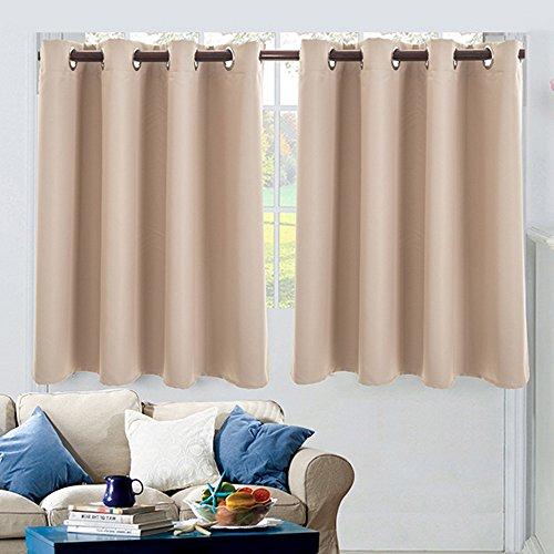 NIBESSER 2 Stück Einfarbige Scheibengardine Küchen Vorhang Blickdicht mit Ösen für Küche Kleine Fenster (74cmx90cm, Beige)