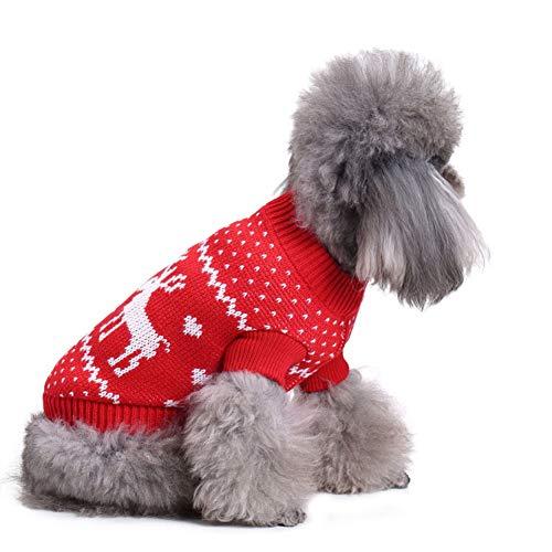 CHIYEEE Weihnachtspullover für Hunde und Katzen Weihnachten Hundepullover Warm Hundepulli Winter Strickpullover Sweater S