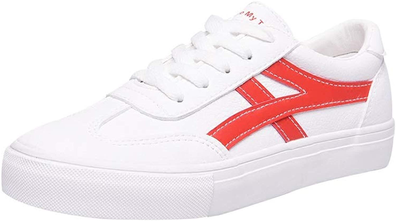 WANGFANG Sandals Women's White shoes, Spring and Summer Personality Versatile Leather White shoes Platform Sneakers (color   Red, Size   US7 EU38 UK5 MX4.5 CN38)