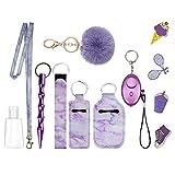 Biglemonni Keychain Car Keys Gift Kit with Personal Sound Alarm,Lanyard,Wristlet Strap,Pom Pom Ball,Ins style DIY decoration sticker for Women Girl 58pcs (Purple)