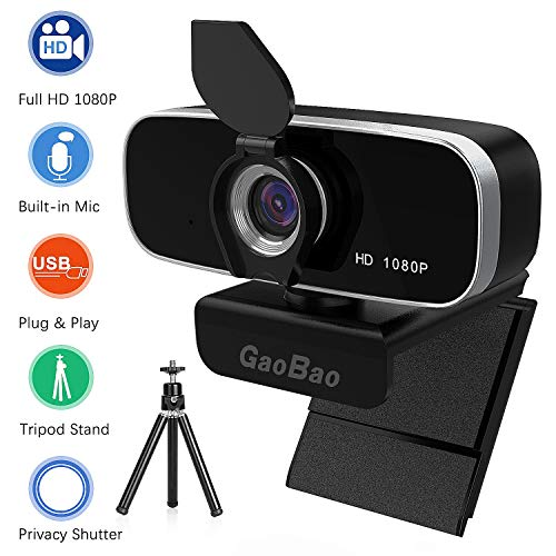 Webcam with Microphone, GaoBao HD Webcam 1080P with Privacy Cover and Tripod, Streaming Computer Web Camera for PC Desktop & Laptop, USB Webcam Built-in Mic for Video Calling and Recording