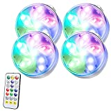 Luces LED Sumergibles con Control Remoto Inalámbrico, Luz de Piscina Impermeable IP68 de 16 Colores Cambiantes con Ventosas, Luces Decorativas Adecuadas para Jarrones, Tanques de Peces, Bodas