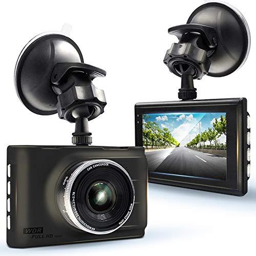 KawKaw Full-HD Dashcam Vorne und Hinten mit 3 Zoll Display, Weitwinkelobjektiv, Nachtsicht & Bewegungsmelder - 1080P FHD Auflösung (1920 x 1080 Pixel) 30 FPS - 120° Sichtfeld - Mit 450 mAh Akku