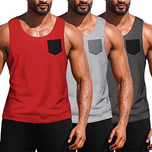 JINIDU Herren 3er Pack Workout Tank Tops Fitnessstudio Fitness Muskel ärmelloses T-Shirt Dunkelgrau/Rot/Hellgrau Medium