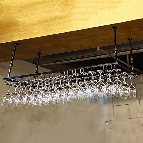 Estantes colgantes para copas de vino Botella de vino Rack / titular de vino de vino, para la altura de la barra para el hogar y la cocina Ajustable: 30 - 60 cm, puede alojar 24 tazas (Black-90x35cm)