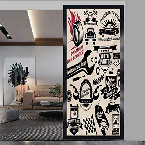 "W 23.6"" x L 35.4"" Bureau Office Privacy Glass Film UV Window Sticker for Bathroom Bedroom Living Room,Car Repair Shop Logos Monochrome Car Silhouettes Best Garage in Town Beige Dark Coral Black"