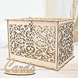 Funyear DIY rustic Wedding Card Box with Lock, Wooden Gift Card Box Holder Money Box for Wedding Reception Deco, Baby Showers, Birthday Party Decorations