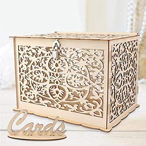 Funyear DIY Rustikale Hochzeitskarten-Box mit Schloss, Holz-Geschenkkarten-Halter für Hochzeitsempfang, Deko, Babypartys, Geburtstagsparty-Dekorationen