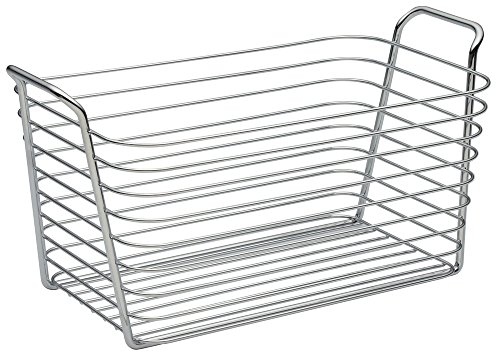 """iDesign Classico Metal Wire Storage Organizer Bin with Handles, Container for Bathroom, Bedroom, Pantry, Kitchen, Closet, 7.5"""" x 13.7"""" x 7"""", Chrome"""