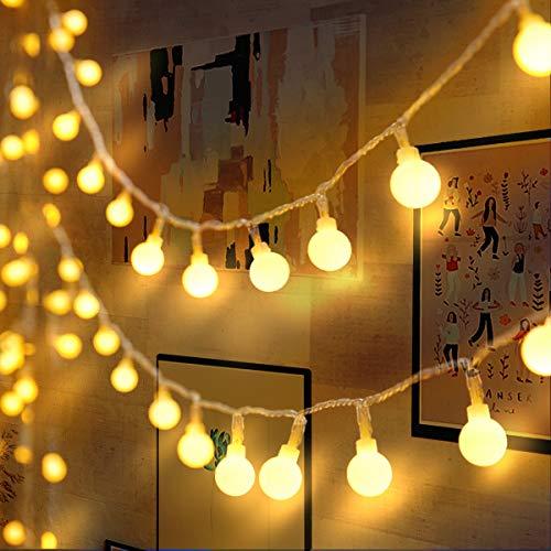 Lichterkette 120er LEDs Kugel Lichterkette Innen/Außen, LOFTer 15M Globe Lichterkette Warmweiß mit 8 Leuchtmodis, Wasserdicht Deko Lichterkette Strombetrieben für Garten/Party/Hochzeit/Weihnachten