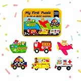 Baby's First Puzzle Wooden Animal and Vehicles Puzzles for Cognitive Development of Toddlers and Preschoolers – Homeschooling and Kindergarten Montessori Teaching Aids – Emergency Vehicles