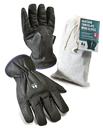 Insulated Work Gloves. Goatskin Leather Winter Gloves. 3M Thinsulate Lining. for Men and Women - See Size Chart Pictured at Left.