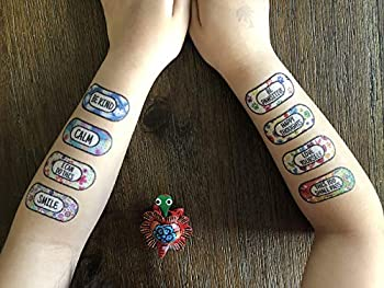 Anxiety Temporary Tattoos 16 tattoos/pack Self care and Healing Bandage Tattoos Bandaid tattoos Motivational gift JAZZY Pack