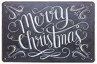 メリークリスマス メタルポスタレトロなポスタ安全標識壁パネル ティンサイン注意看板壁掛けプレート警告サイン絵図ショップ食料品ショッピングモールパーキングバークラブカフェレストラントイレ公共の場ギフト
