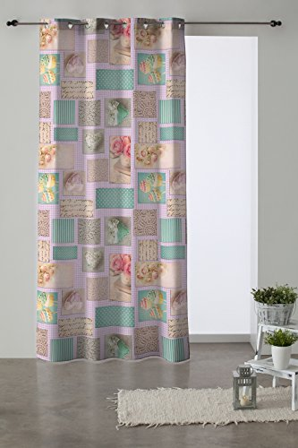 Martina Home Koekjes Gordijn Oogjes, Stof/Weefsel, Multi kleuren, 280 x 140 x 3 cm