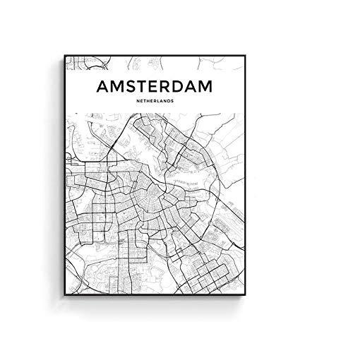 Leinwand Bild,Amsterdam Niederlande Stadtplan Abstrakte Einfache Linie Karte Wall Art Farbe Wand Dekor Kunstdrucke Auf Leinwand Leinwand Kunst Poster Gemälde Kein Rahmen Für Wohnzimmer Einrichtung