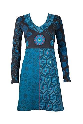Wunderschönes Tunika Kleid mit originellen ethnischen Mustern & Details - 100% Baumwolle - Hippie Chic - Mona (Petrol) (XXL)