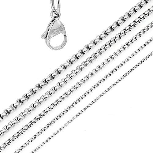 DonDon Collar de Acero Inoxidable para Hombres Longitud 52 cm - Ø 0,5 cm
