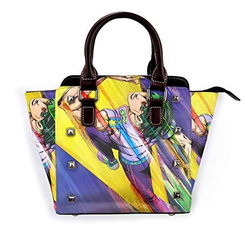 Society Japanese Pop Art Pattern Fashion Pu,Leather Rivet Shoulder Bag Handbagsbag Tote Handbags Purse,Adjustable,Shoulder,Strap,School Work Travel Gym Shopping