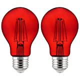 Sunlite 81082 A19 Standard LED Filament 4.5W Transparent Dimmable Light Bulb, Red