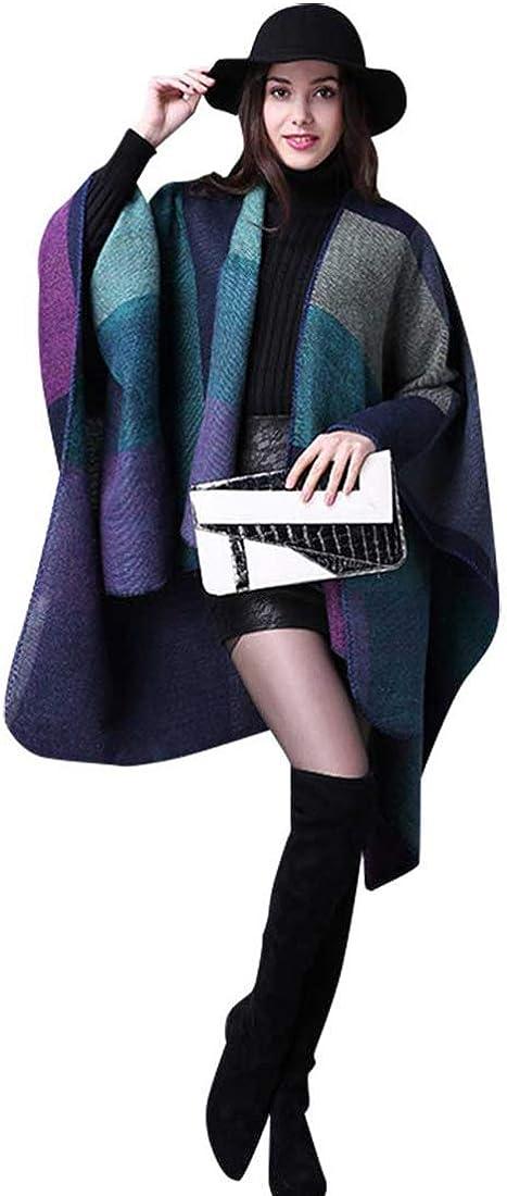 chuangminghangqi Poncho Damen Winter Warm Cape Schal Habe Gestrickt Kaschmir Überdimensionalen Decke Kap-Schal Violett