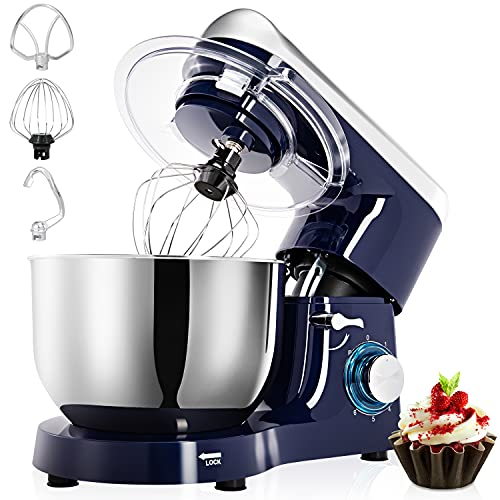Stand Mixer, 6QT 660W 6-Speed Tilt-Head Food Mixer, Kitchen Electric Mixer with Dough Hook, Wire Whip, Beater & Egg White Separator
