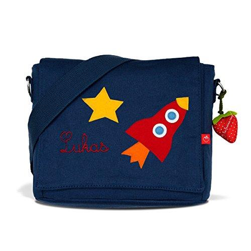 Kindergartentasche & Kindergartenrucksack in einem: Rakete für Jungen (mit Namen) in blau