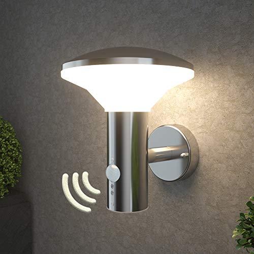NBHANYUAN Lighting® LED Aussenleuchte mit Bewegungsmelder Aussenwandleuchten für Balkon Silber Edelstahl 3000K Warmweiß Licht 9.5W IP44 220-240V
