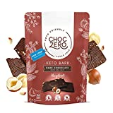 ChocZero's Keto Bark, Dark Chocolate Hazelnuts with Sea Salt. 100% Stone-Ground, Sugar Free, Low Carb. No Sugar Alcohols, No Artificial Sweeteners, All Natural, Non-GMO (6 bars/box)