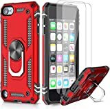 LeYi for iPod touch 6/7/ 5 Case and Tempered Glass Screen Protector(2 Pack),Magnetic Ring Holder [Military Grade] Protective Silicone TPU Shockproof Armour Phone Cover for iPod Touch 5th 6th 7th Red