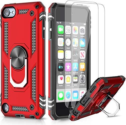 LeYi Funda iPod Touch 6/7/ 5 con [2-Unidades] Cristal Vidrio Templado,Armor Carcasa con 360 Grados Anillo iman Soporte Hard PC y Silicona TPU Bumper antigolpes Case para movil iPod 5th 6th 7th,Rojo
