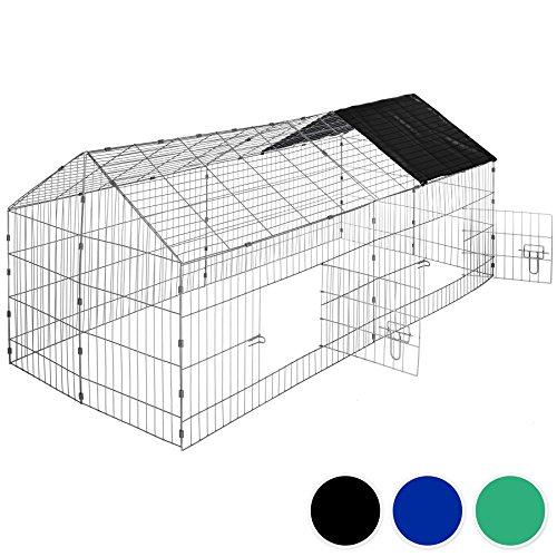 TecTake Jaula recinto para Conejo Ejecutar con Parasol Exterior Animales 180 x 75 x 75 cm (Techo Negro | no. 402421)