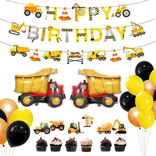 Amycute 31 Stück BAU Geburtstag Party Dekorationen , Lastkraftwagen Luftballons, Straßenschild Tortendekoration für Dumper Truck Car Zone unter dem Motto Party Favors Dekor.