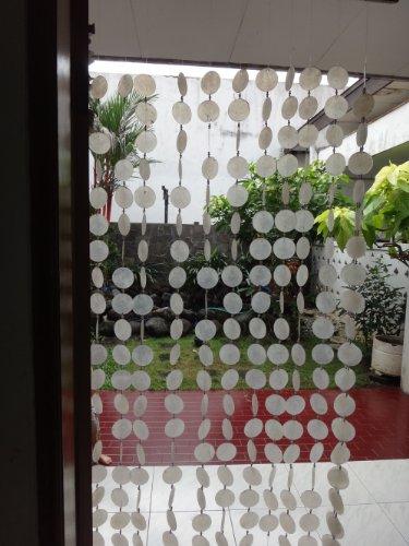 East-J Natural Capiz Shell (Round) Door Curtain (White)