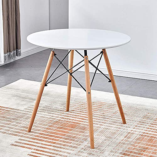 YVX Round Dining Table for Home Office, Modern Wooden Dining Room Table for Small Spaces, White Dinette Table Kitchen Table with Wood Legs, 80cm