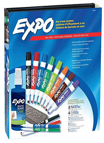 EXPO 80054 Low-Odor Dry Erase Markers, Chisel Tip, Assorted Colors, 15-Piece Set