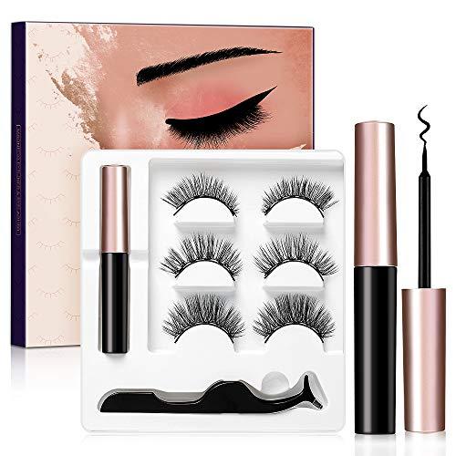 3 Pairs Magnetic Eyelashes and Eyeliner Kit, No Glue Reusable False Eyelashes, Easier To Use Than Traditional Magnetic Eyelashes