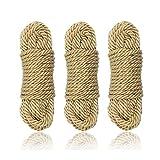 Hanyi [3 Pack] 10 M / 32 Fuß 8mm Baumwollseil Bondageseil für Binden von Gepäck, Schlafzimmerfantasien, Nähen, Verpackungswerkzeuge -
