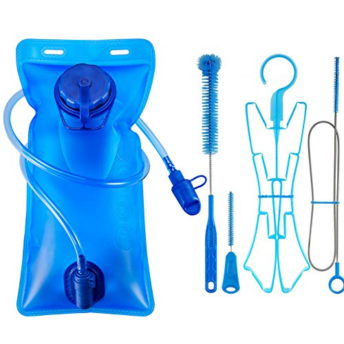 Hydration Bladder 2L + Water Bladder Cleaning Kit, ICETEK Leakproof Water Reservoir Bag with Self-Locking Valve, Cleaner Set with Easy Cleaning Brushes