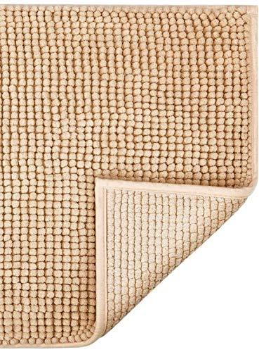Klickpick Designs Thick Plush Bath Mats Soft Bath Mat Chenille Washable Bath Rugs Microfiber Shaggy Non Slip Bathroom Rug Anti Slip Absorbent Bath Rug Carpet with Non Skid Backing (16' x 24', Beige)