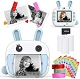 Instant Print Camera for Kids, WiFi Zero Ink Toy 4k Camera with Paper Films, 32GB Memory Card Portable Digital Camera Portable Rechargeable Digital Camera Print Toys Gifts for Children Boys Girls
